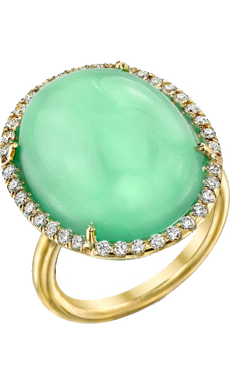 Irene Neuwirth  Mint Chrysoprase & Diamond Ring