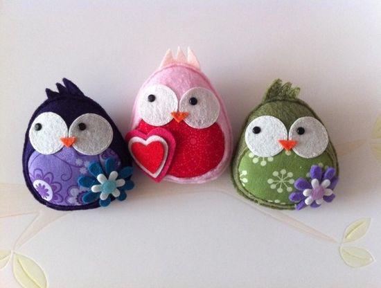 Three little felt owls