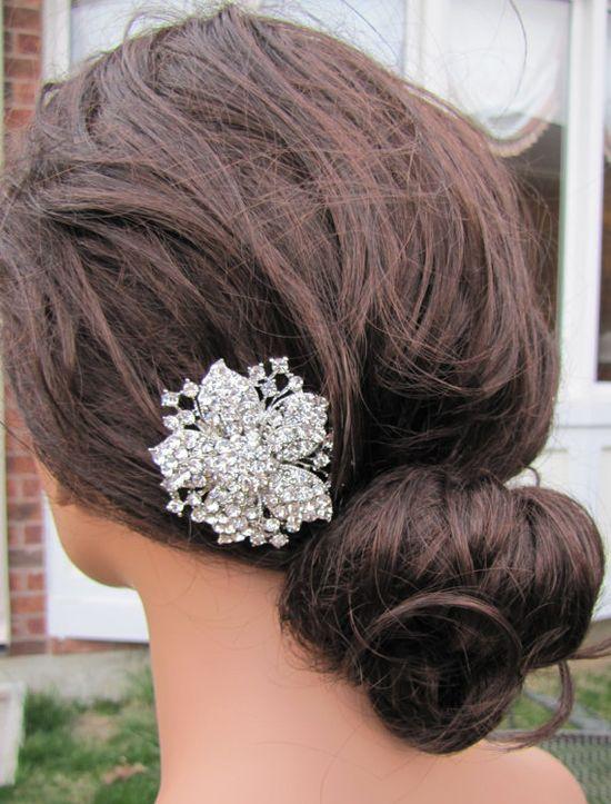Possibility?!    Wedding head piece rhinestones bridal hair comb by FuchstandBelle, $48.00