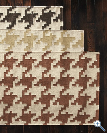 Camel houndstooth rug for the dining room.