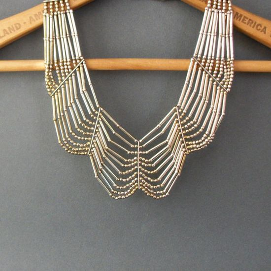 Tribal Metal Festoon Necklace  70s Statement by TheDeeps on Etsy, $80.00