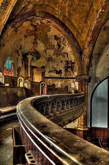 St. Curvy's Abandoned Church in  Detroit, Michigan. Woodward Avenue Presbyterian Church of Detroit built in 1908 and affectionately known as St. Curvy's. Abandoned for over 10 years, it is now being remodeled.