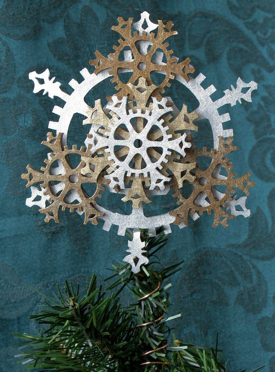 Small Steampunk Tree Topper - Snowflake Gears, shown in Brass, Antique Brass, and Silver, $20