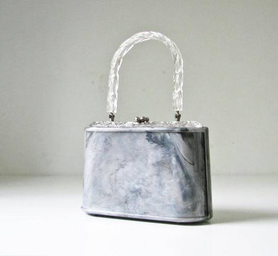 So Chic!  1950s Grey Marbled Plastic Handbag by BeeJayKay on Etsy