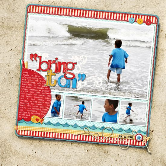 Layout by Misty Cato #scrapbook #layout #beach
