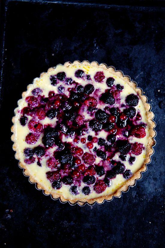 Summer berry & yoghurt tart