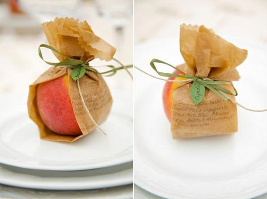 Simply wrapped fruit place setting!