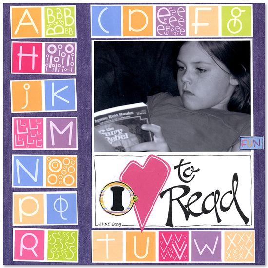 I Love to Read - Scrapbook.com - #scrapbooking #layouts