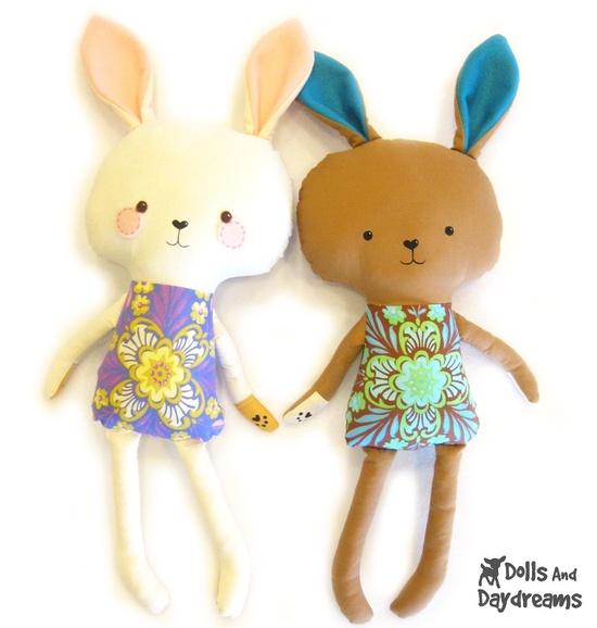 Bunny Rabbit PDF Sewing Pattern Stuffed Toy Softie. $10.00, via Etsy.