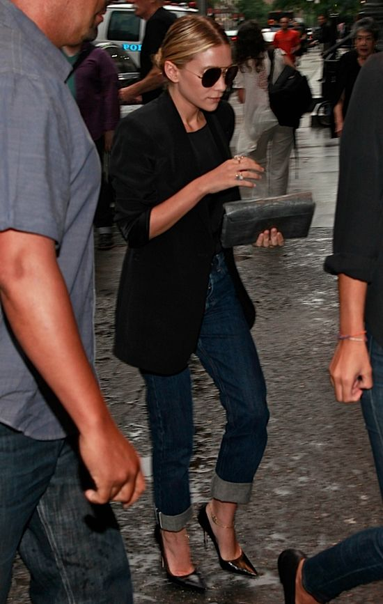 jeans heels blazer
