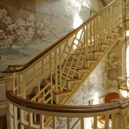 Metallic chinoiserie wallpapered staircase