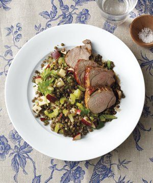 Balsamic-Glazed Pork With Lentils recipe from realsimple.com #myplate #protein