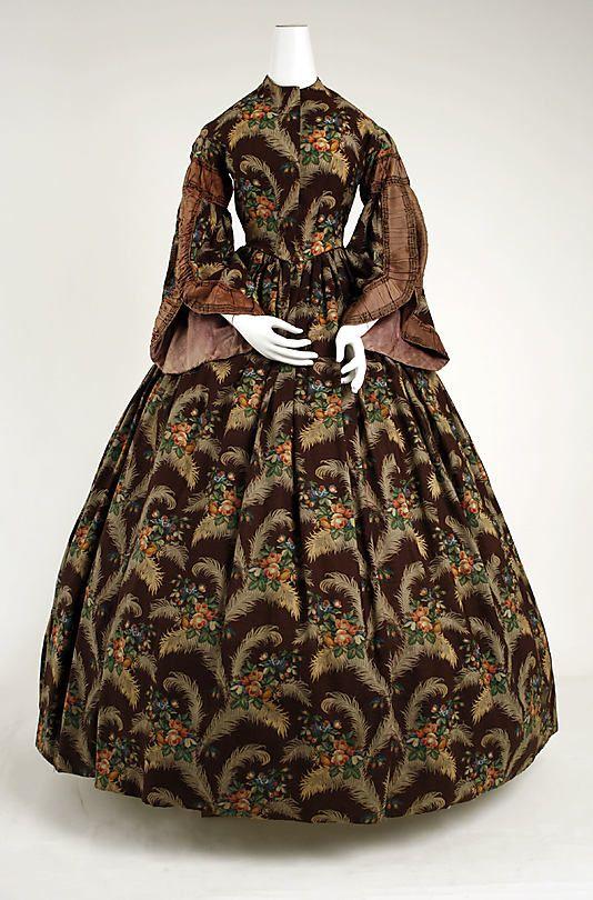 #Brown print silk and wool day dress, American, ca. 1850.  Plaid Dress #2dayslook #new #Plaid fashion  www.2dayslook.com