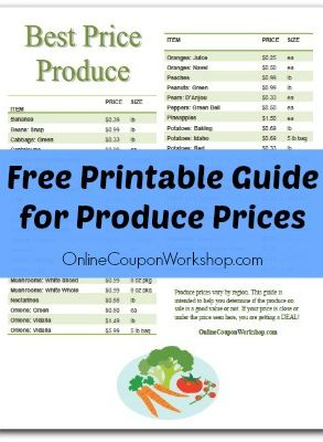 Free Produce Price Guide - How to Save Money on Fresh Fruits & Vegetables