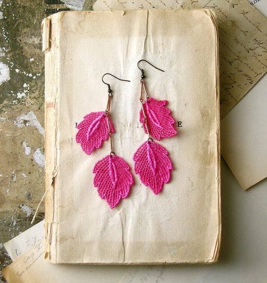 hot pink earrings for spring 2012 by White Owl