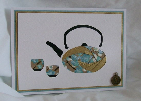 Iris Folded Asian Tea Set Card. - This  could work with punches