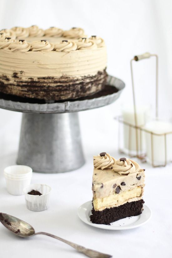 Chocolate Chip Cookie Dough Devil's Food Cake Cheesecake (oh my!)