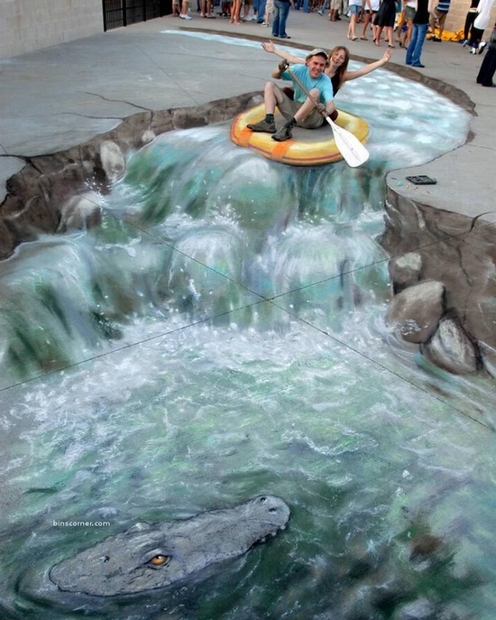 3D chalk art. So cool