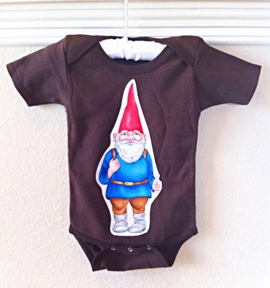 Baby Boy Shower Gift Onesie Brown Gnome