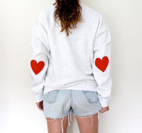 Elbow Heart Sweatshirt - Original Red. $34.00, via Etsy.
