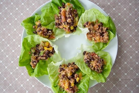 Quinoa and Black Bean Lettuce Wraps - Vegan