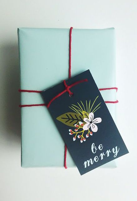 Floral Modern Holiday Gift Tags - Merry Christmas Gift tags - Floral Be Merry Tags - Christmas gift wrapping supplies