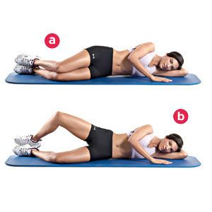 The Clamshell: Lie on your left side on the floor, with your hips and knees bent 45 degrees. Your right leg should be on top of your left leg, your heels together. Keeping your feet in contact with each other, raise your right knee as high as you can without moving your pelvis. Pause, then return to the starting position. Don't allow your left leg to move off the floor.    Click for 7 more core- and hip-strengthening exercises: ow.ly/omnDF