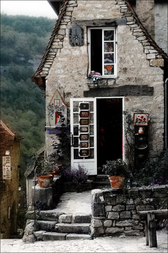 stone cottage and porch