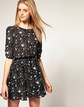 ASOS Belted Dress with Star Print