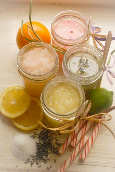 Sweet Skin Softening scrubs from:  Coconut Oil or olive oil Sugar  Mason jar. Essential Oils (optional)