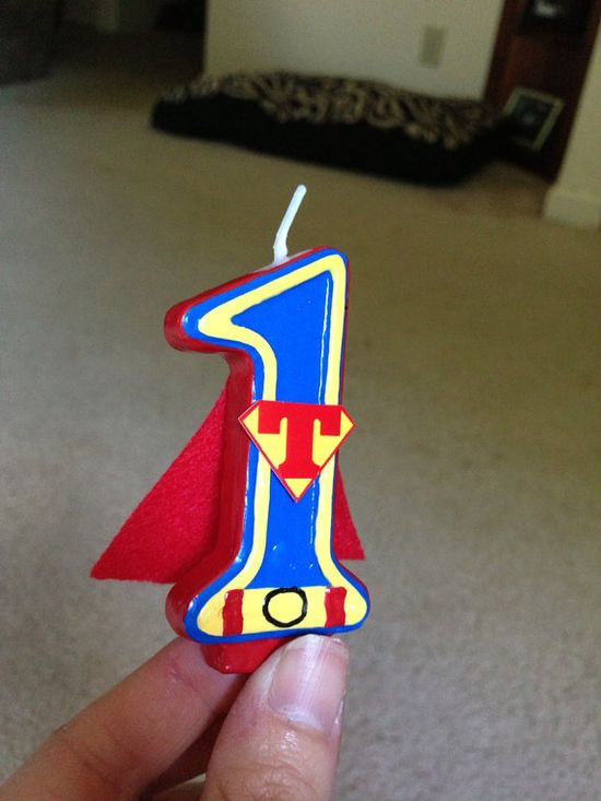 Hand painted Super-hero birthday candle - any number and superhero via Etsy
