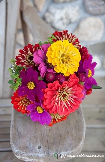 Zinnia flower arrangement by Flourish Floral Design.
