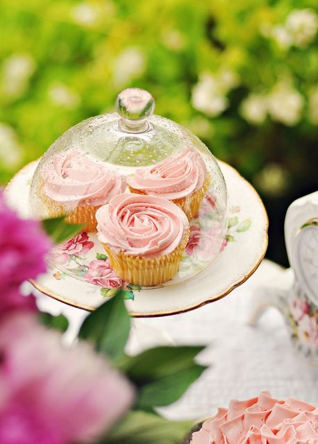 Beautifully glass cloche housed Vanilla Rose Cupcakes. #food #dessert #pink# wedding #birthday #shabby #chic #rose #vanilla #cloche #vintage #tea #party