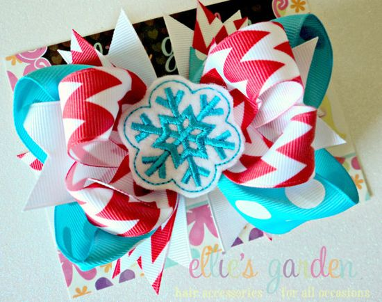 Christmas Holiday Boutique Bow with Embroidered by elliesgarden, $10.99