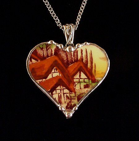 English cottages antique transferware plate broken china jewelry heart pendant necklace