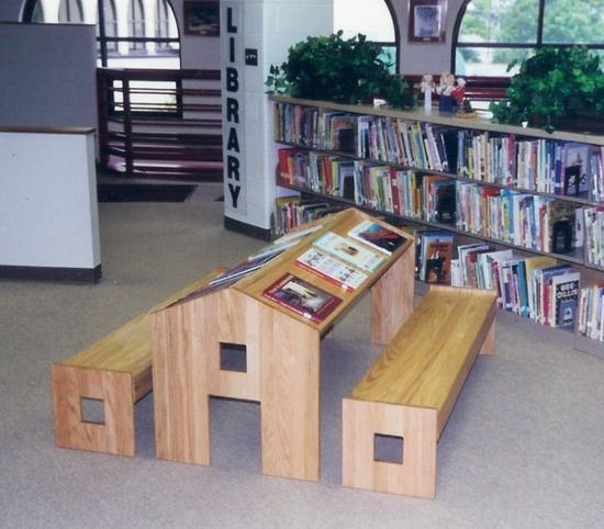 "Child's Reading Table: So inviting ! Made of oak. 60 x 30"". $1200   (Luckily I married a man that can make this for me! 1200 bucks is a lot of money for a kids desk!)"