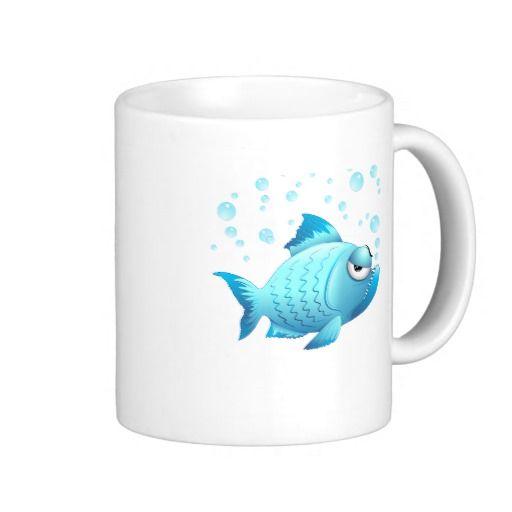 Grumpy Fish Cartoon Coffee Mugs