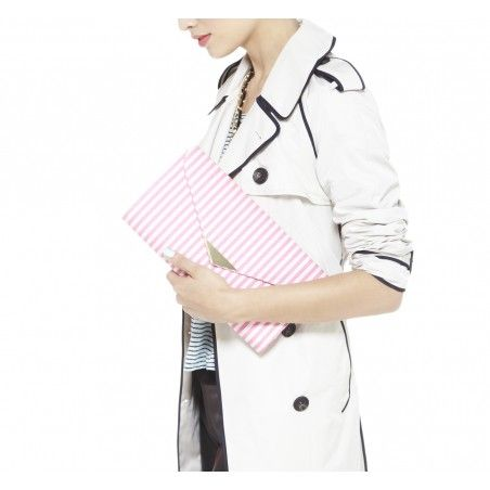 Trench for fall. Striped clutch.