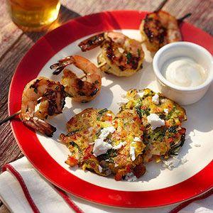 Zucchini Fritters with Orange Shrimp