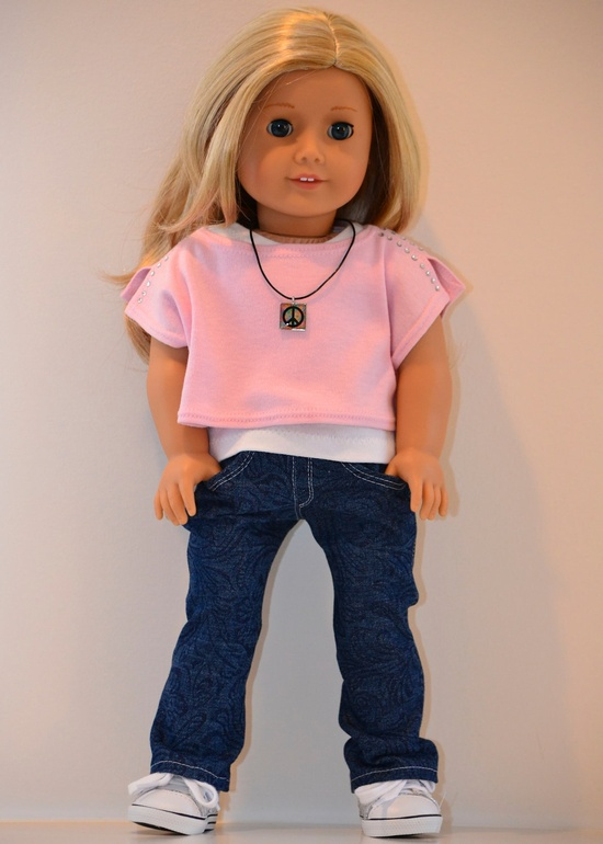 18 inch, American Girl  Doll Clothing. Boot-cut jeans and knit top ensemble.. $38.00, via Etsy.