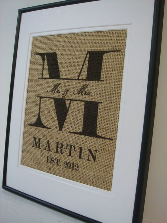 Personalized Name and Est date  Burlap by burlapartbyelizabeth, $20.00