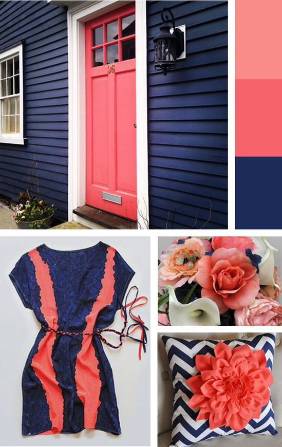 For Love of Color - navy and coral