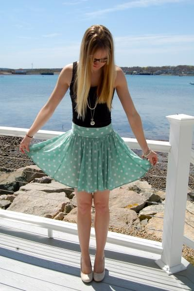 cute polka dot skirt!