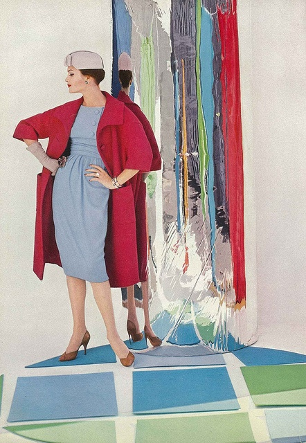 The palette here of deep strawberry, pale periwinkle, and coppery-fawn is marvelous. #vintage #fashion #1950s