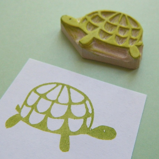 Slow and Steady Turtle - Hand Carved Rubber Stamp. $8.00, via Etsy.