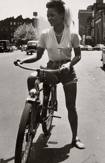 Singer Eartha Kitt rides her bike in New York City, July 1952.  Photo by Gordon Parks for Life Magazine