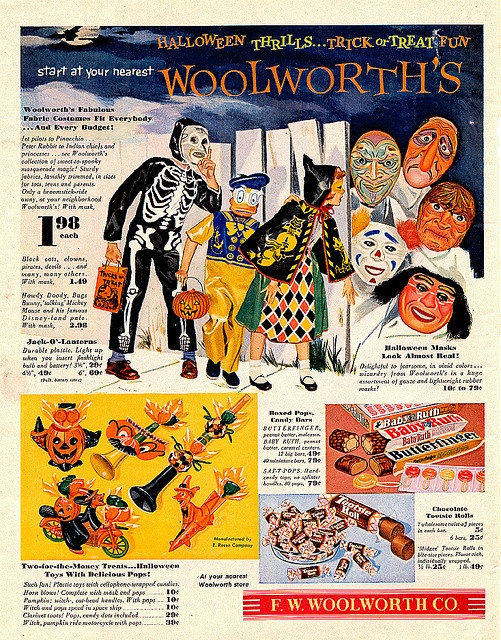 A delightful 1950s Woolworth's ad for an array of Halloween items from candy bars to scary masks. #ads #vintage #Halloween #retro #catalog #mask #candy #decorations #costumes #illustrations #fifties #1950s