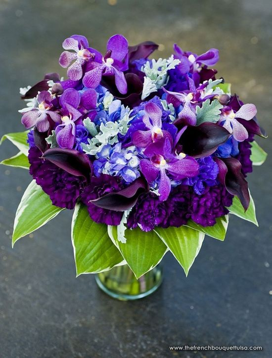 purple flower arrangement.