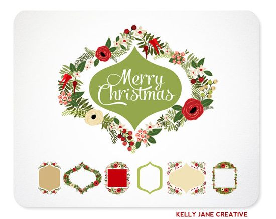 Gorgeous Christmas Wreaths, Frames & Ribbon Banners Clip Art for creating the most beautiful Christmas Cards, Christmas Party Invitations, Christmas Wedding Stationery, or for Decking the Digital Halls of your Blog - by Kelly Jane Creative $5.00