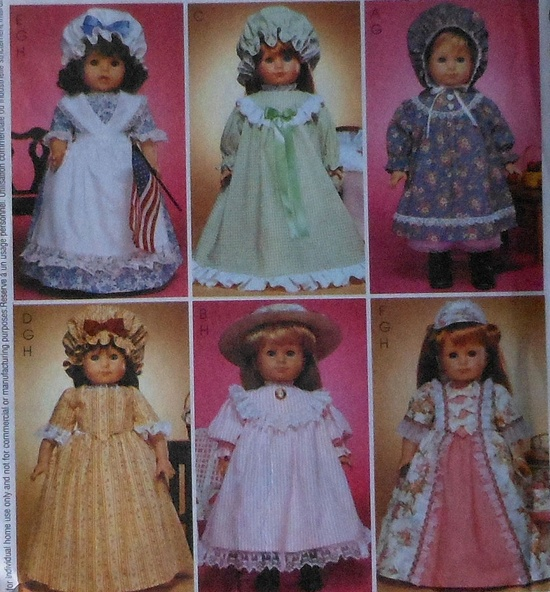"""18"""" Colonial Doll Clothes Sewing Pattern"""